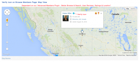 Verify Icon on Browse Members Page - Map View