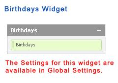 Birthdays Widget
