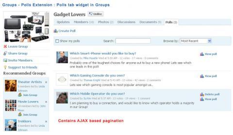 Groups - Polls Extension : Polls tab widget in Groups