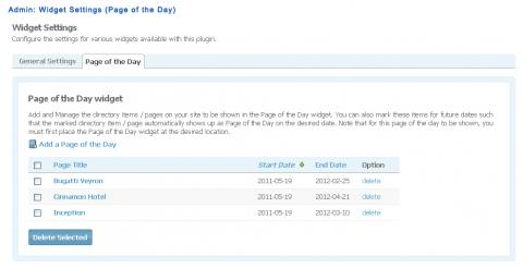 Admin: Widget Settings (Page of the Day)