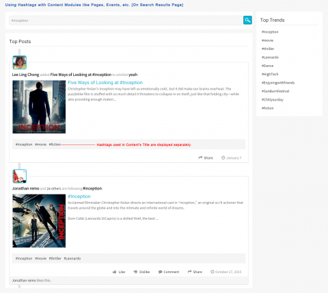 Using Hashtags with Content Modules like Pages, Events, etc. [On Search Results Page]