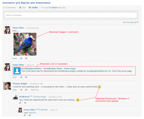 Comments and Replies with Attachments