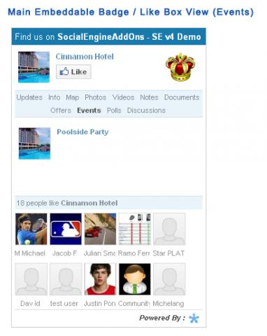 Main Embeddable Badge / Like Box View (Events)
