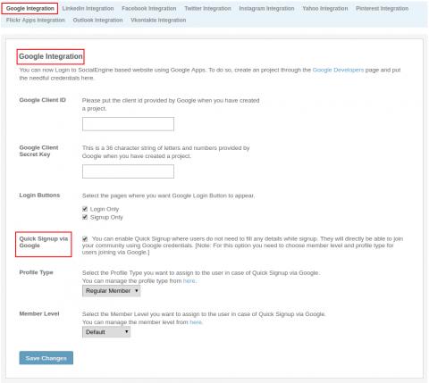 Admin: Social Sites Integration