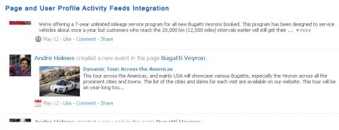 Page and User Profile Activity Feeds Integration