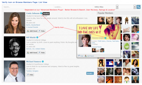 Verify Icon on Browse Members Page - List View