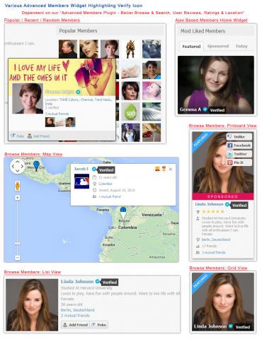 Various Advanced Members Widget Highlighting Verify Icon