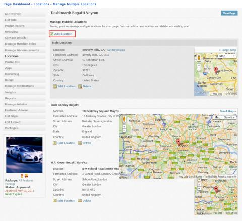Page Dashboard - Locations - Manage Multiple Locations