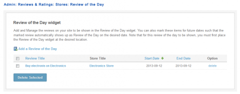 Admin: Reviews & Ratings: Stores: Review of the Day