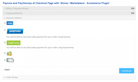 Paynow and PayUmoney  at Checkout Page with 'Stores / Marketplace - Ecommerce Plugin'