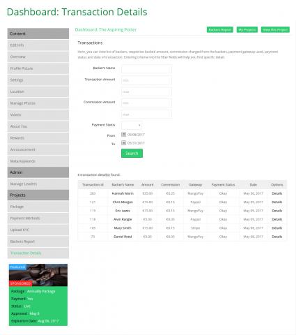 Dashboard: Transaction Details