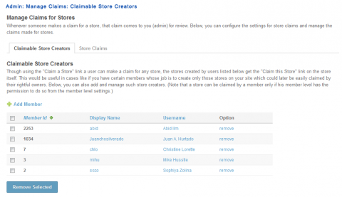 Admin: Manage Claims: Claimable Store Creators