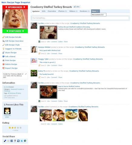 Main Recipe Page Screenshot