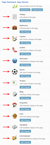 Page Dashboard: Apps Section