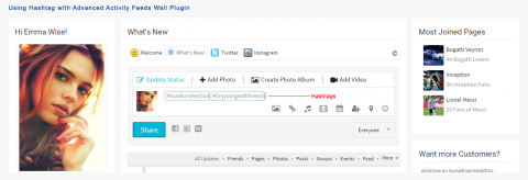 Using Hashtag with Advanced Activity Feeds Wall Plugin