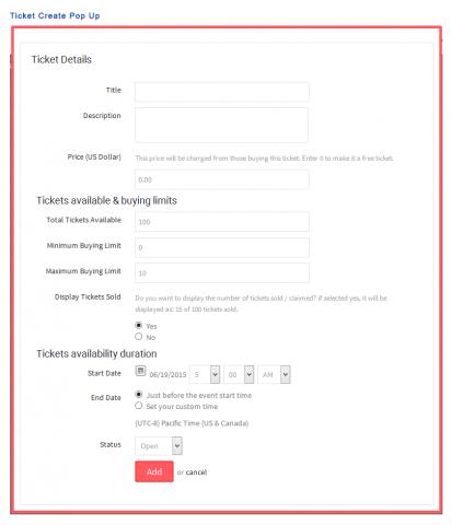 Ticket Create Pop Up