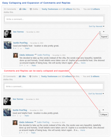 Easy Collapsion and Expansion of Comments and Replies