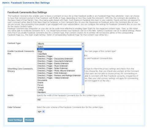 Admin: Facebook Comments Box Settings