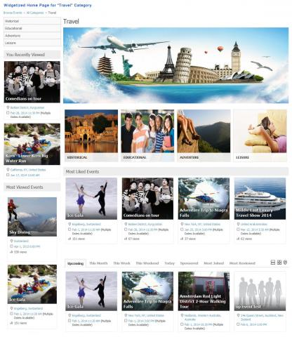 """Widgetized Home Page for """"Travel"""" Category"""