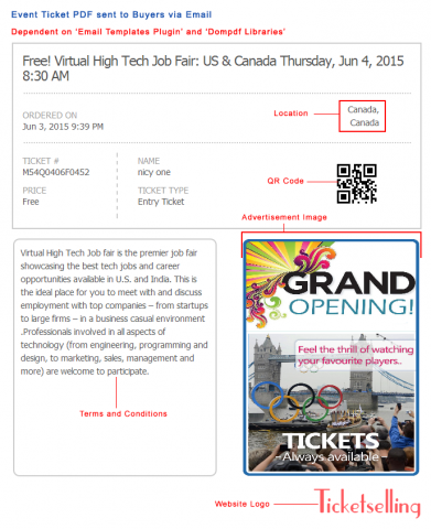 Event Ticket PDF sent to Buyers via Email