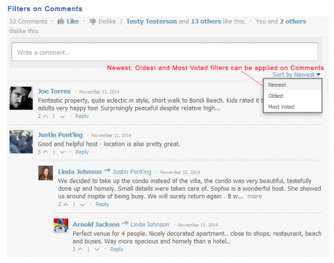 Filters on Comments