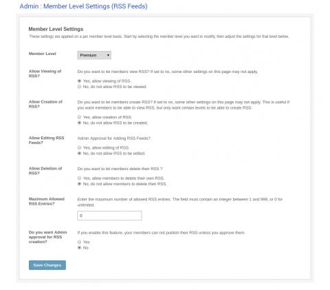 Admin: Member Level Settings (RSS Feeds)