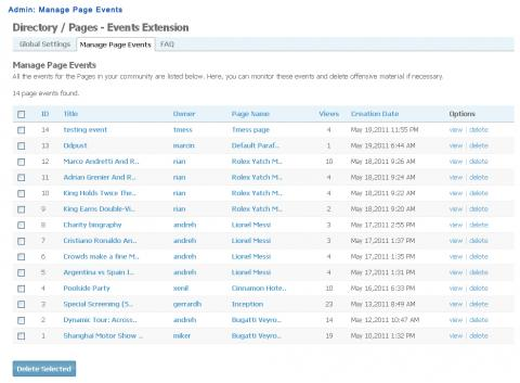 Admin: Manage Page Events