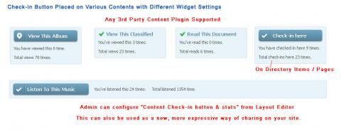 Check-in Button Placed on Various Contents with Different Widget Settings