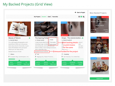 My Backed Projects (Grid View)
