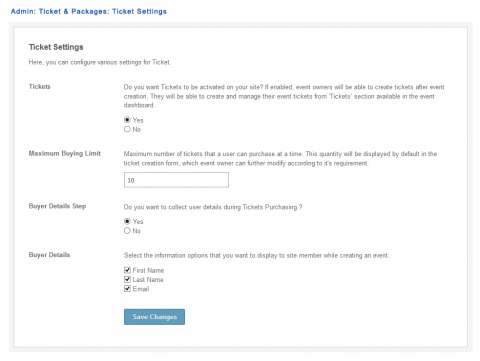 Admin: Ticket & Packages: Ticket Settings