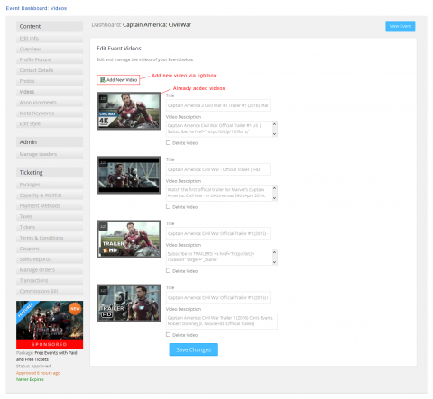 Event Dashboard: Videos