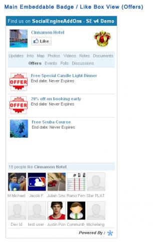 Main Embeddable Badge / Like Box View (Offers)