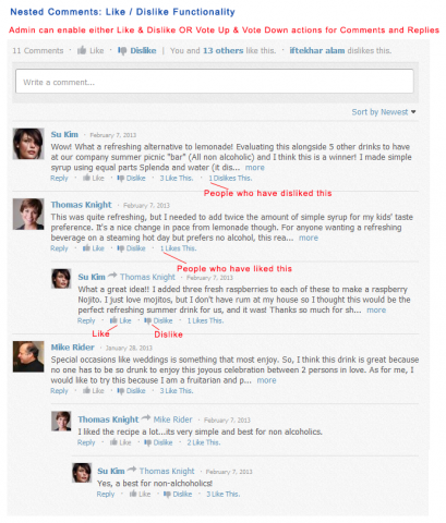 Nested Comments: Like / Dislike Functionality