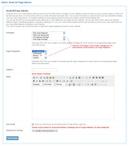 Admin: Email All Page Admins