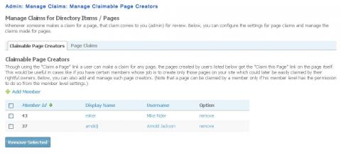 Admin: Manage Claims: Manage Claimable Page Creators