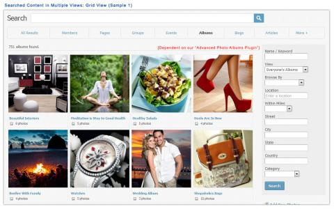 Searched Content in Multiple Views: Grid View (Sample 1)