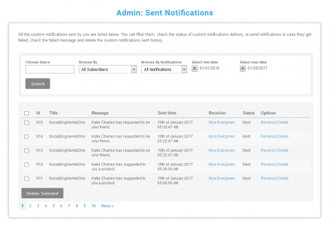 Admin: Sent Notifications