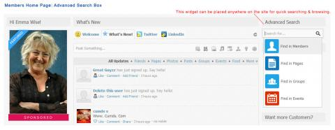 Members Home Page: Advanced Search Box