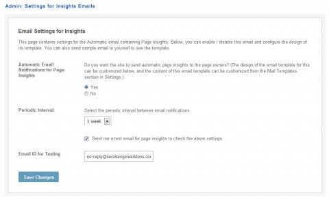 Admin: Settings for Insights Emails