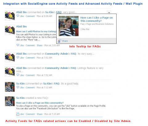 Integration with SocialEngine core Activity Feeds and Advanced Activity Feeds / Wall Plugin