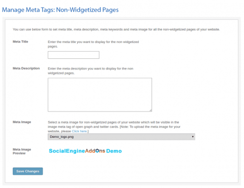 Manage Meta Tags: Non-Widgetized Pages