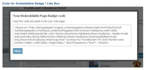 Code for Embeddable Badge / Like Box