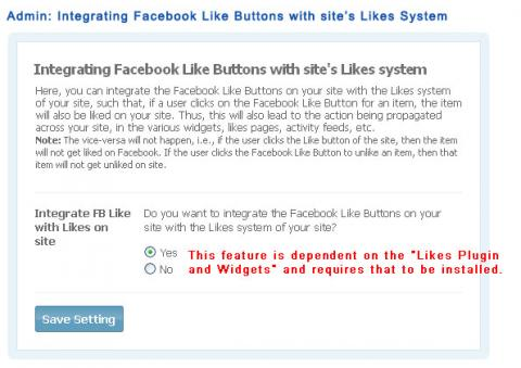 Admin: Integrating Facebook Like Buttons with site's Likes System