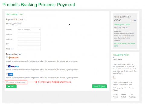 Proejct's Backing Process: Payment