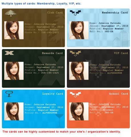 Multiple types of cards: Membership, Loyalty, VIP, etc.