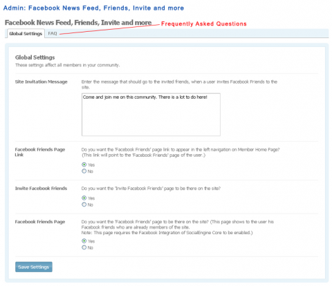Facebook Friends and Inviter: Administration