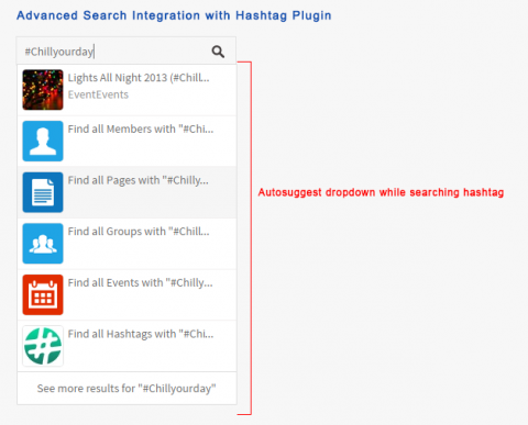 Advanced Search Integration with Hashtag Plugin