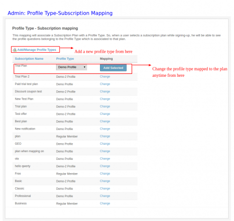 Admin: Profile Type- Subscription Mapping